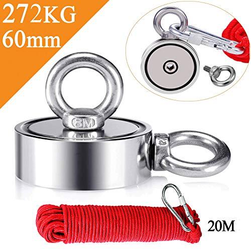 Uolor 272KG Haftkraft Doppelseitig Neodym Ösenmagnet mit Seil (20M/66ft), Super Stark Magnete Perfekt zum Magnetfischen Magnet Angel - Ø 60mm mit 2 Öse Neodymium Topfmagnet
