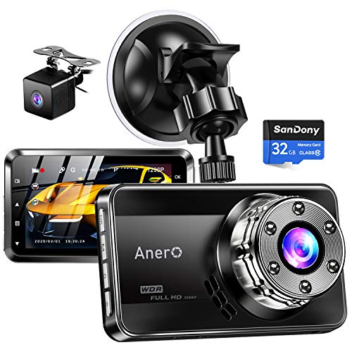 [2021 Version, Sony Sensor] Drive Recorder Front and Rear Camera with 32 GB Card Included, 1296P Full HD High Definition 170° Wide Angle View, Infrared Night Vision Light, LED Signal Protection, HDR/WDR Technology, Small Drive Recorder Easy Operation, Fast Start, Parking Monitoring, Constant Recording, Overwrite Recording, G-Sensor, Japanese Instruction Manual (English Language Not Guaranteed) (Black)