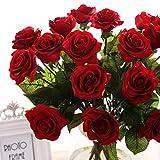10 Pcs réelle Touch Silk Gluing PU soie artificielle Rose Fleurs Décorations pour fête de mariage ou d'anniversaire Garden Bridal Bouquet Fleur Saint Happy Valentine's Day Party Party(Rouge vif)