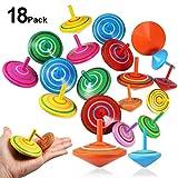 Foonii Trottola in Legno, 18 Pezzi Mini Giroscopio in Legno Colorati Artigianali Set per Bambini Giocattolo Partito Geschenk - Due Dimensione - 3-7 Anni ( 6 Colore)