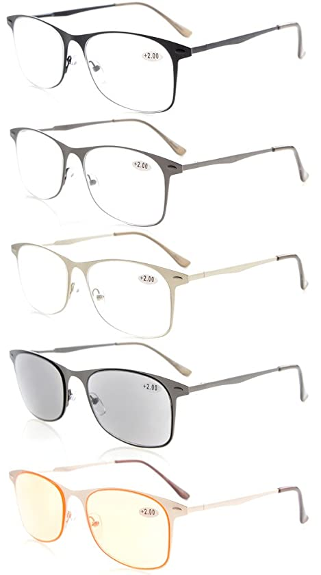 Eyekepper 5-Pack Quality Spring Temples Metal Reading Glasses Include Sunshine Readers Computer Eyeglasses +1.5