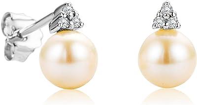 Orovi, orecchini a perno da donna in oro bianco 9 ct/375 con perle d'acqua dolce bianche e diamanti taglio brillante 0,04 ct