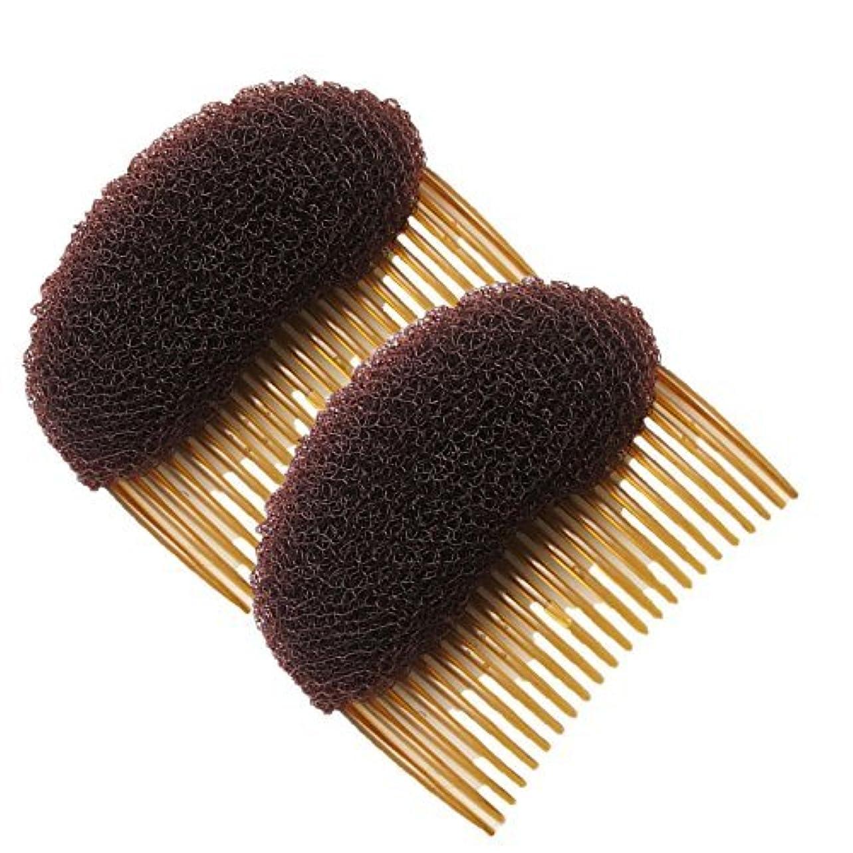 巡礼者外部ドラッグHealtheveryday?2PCS Charming BUMP IT UP Volume Inserts Do Beehive hair styler Insert Tool Hair Comb Black/Brown colors for choose Hot (Brown) [並行輸入品]