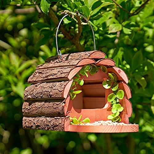 SA Products Wooden Squirrel Feeder - Natural Bark Wood Material - Hanging...