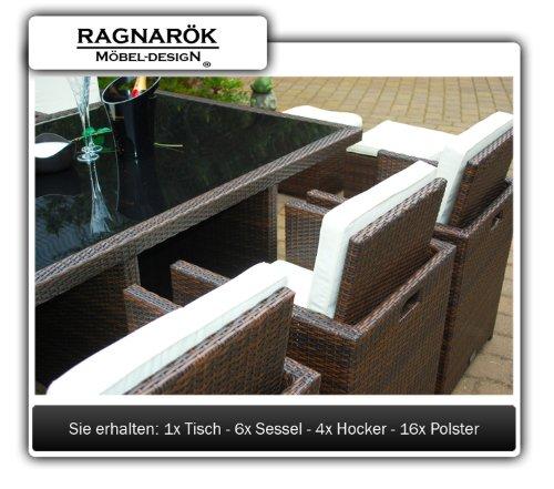 Ragnarök-Möbeldesign DEUTSCHE Marke - EIGNENE Produktion - 8 Jahre GARANTIE Garten Möbel Glas Polster PolyRattan Set Gartenmöbel Tisch Stuhl Hocker BRAUN - 4