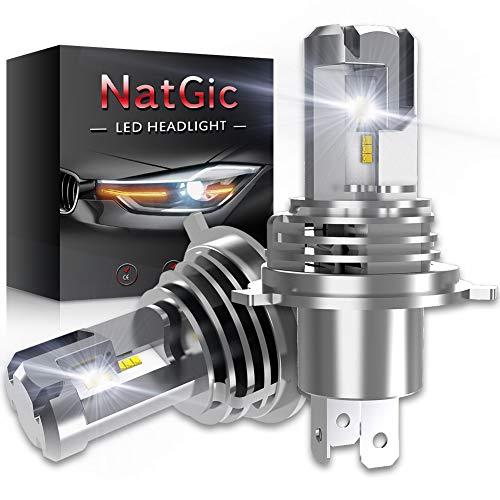 NATGIC H4 9003 HB2 Ampoules de Phares à LED Hi/Lo Kit de Conversion Remplacement de Phare Halogène Puissance élevée 55W Puces ZES Double Face 10000LM et 6500K Blanc Xénon DC 9V - 32V (Lot de 2)