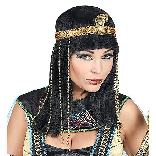 Widmann 02089 - Perücke ägyptische Königin, mit goldfarbenem Stirnband, lange Kunsthaarperücke, schwarz, Kleidungszubehör, Frisur, Karneval, Mottoparty