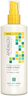 Andalou Naturals Sunflower and Citrus Brilliant Shine Hair Spray, 8.2 Ounce