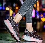 qmj Double Wheels Technische Schuhe Mit Roller 7 Farben Blinkende LED Rollschuh Sneaker Inline Wheel Skates,Black-39