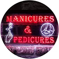 Manicures and Pedicures Illuminated Dual Color LED看板 ネオンプレート サイン 標識 白色 + 赤色 600 x 400mm st6s64-i0592-wr