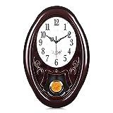 Lafocuse Relojes de Pared con Péndulo Grandes Color Caoba Relój de Péndulo Tradicional Retro Silencioso Decorativo para Salon Comedor Oficina 56 * 36cm