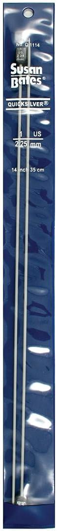 Susan Bates Q1114-1 14-Inch Quicksilver Single Point Knitting Needle, 2.25mm