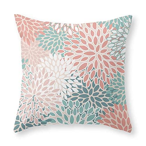 Federa per cuscino, motivo floreale, verde acqua, pesca, corallo, stampe a colori, 45,7 x 45,7 cm, per divano letto, auto e decorazione per la casa