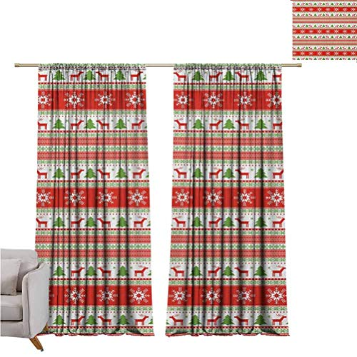 Christmas Bedroom Rod Pocket Blackout Curtains Traditional Reindeer Xmas Tree Snowflake Border Knitted Seem Pattern Living Room Color Curtains Set of Two Panels for Curtains W100 x L84 Inch Vermilion