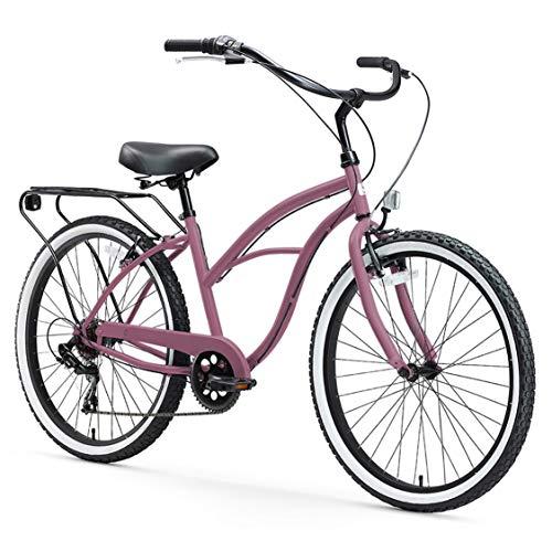 "sixthreezero Around The Block Women's 7-Speed Cruiser Bicycle, Light Plum w/Black Seat/Grips, 26"" Wheels/17 Frame"