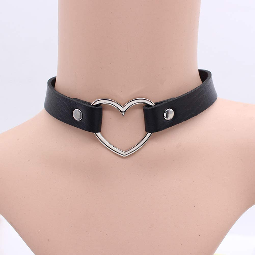 HaHawaii Necklace, Fashion Women Peach Heart Punk Collar Necklace Adjustable Faux Leather Jewelry - Black
