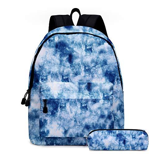 Zaino Tie Dye, Zaino per laptop da viaggio con spallacci regolabili, Zaino scolastico resistente per notebook da 14 pollici con astuccio