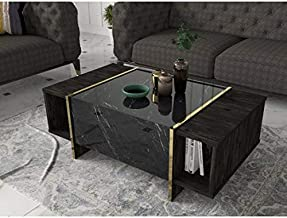 Veyron Coffee- Modern and Elegant Coffee Table with 2 Storage Shelf for Living Room, Color Black