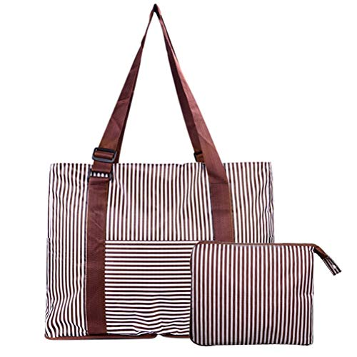 kuou Foldable Travel Duffles Bag, Stripe Nylon Water Resistant Packable Travel Bag for Sport, Gym, Vacation with Storage Bag