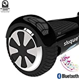 Skque Self Balancing Scooter (MAX 220 lbs), 6.5' I1.2 UL2272 Smart Two Wheel Self Balancing Electric Scooter with Bluetooth Speaker and LED Lights, Black