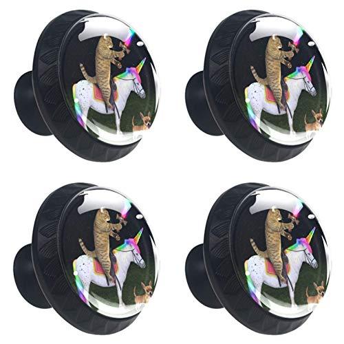 FURINKAZAN Tirador de armario de cocina para puerta de armario de cocina, cajones, tiradores de ropa, gancho moderno y simple para montar en gato, unicornio caballo perro