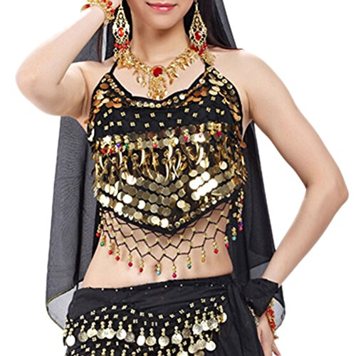 BellyLady Tribal Belly Dance Halter Banadge Bra Top with Pad-Black