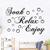 2 Pieces Bathroom Wall Decals Sticker Soak Relax Enjoy PVC Wall Sticker Decal Removable Home Bathroom Background Decor