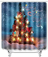 "Custom Personalized Bathroom Shower Curtain Christmas Tree 100% Polyster Fabric 66"" W x 72"" L"