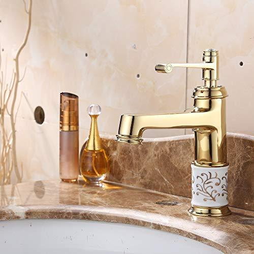 Whss water toque Lavabo chapado en oro y rico guapo en porcelana azul y blanca lavabo chapado en oro Grifo de agua fría y caliente europeo Grifo de oro antiguo
