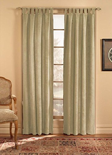 CHF & You Ultra Suede Tab Top Window Curtain Panel, Beige, 50-Inch X 63-Inch by CHF & You