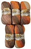 5x 100g Alize with Mohair Knitting Wool Gradient Brown Terracotta Beige # 4741Knit and Crochet Knitting Wool 500g