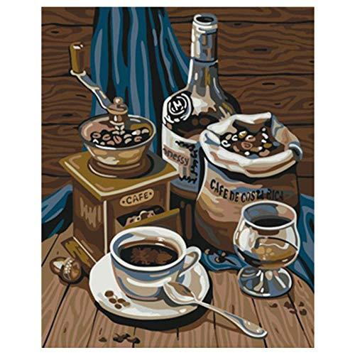 Wxswz tekengetallen voor kinderen voor volwassenen om zelf heerlijke koffie natuur dode afbeelding van kunst van de muur acryl ter decoratie van de bruiloft 50 x 65 cm zonder lijst