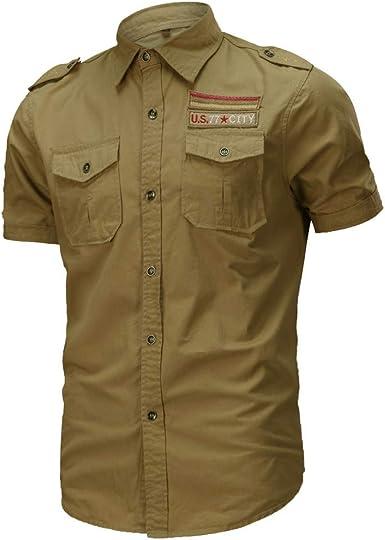 JINSHI Hombre Camisa Casual de Estilo Militar Chaqueta Leñador de Manga Corta 100% Algodón