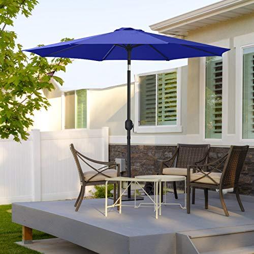MasterCanopy 230cm Sonnenschirm Fe-Al Market Tischschirm im Freien mit 8 stabilen Rippen.blau