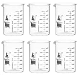 6PK Beakers, 600ml - ASTM - Low Form with Spout - Dual Scale, White Graduations - Borosilicate 3.3 Glass - Eisco Labs