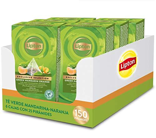 Lipton - Té Verde Mandarina-Naranja, 6 Cajas x 25 Pirámides