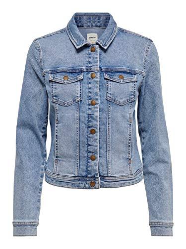 ONLY Damen Jeans Jacke Westa Life leichte Übergangsjacke, Denim-Look 15192447 Light Blue Denim 36