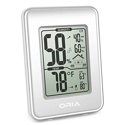 Oria Hygrometer/Thermometer für den Innenbereich silberfarben / weiß