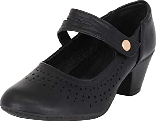 Cambridge Select Women's Comfort Mary Jane Laser Cutout Low Mid Heel Pump
