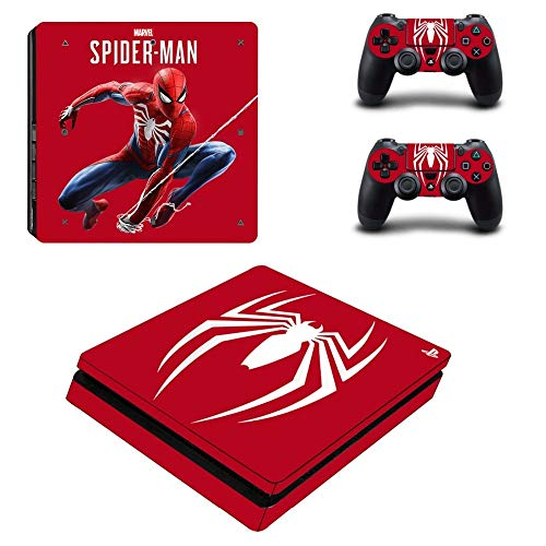 FENGLING Spiderman Ps4 Slim Stickers Skin Stickers pour Playstation 4 Play Station 4 Slim Console & Controller Game Cover Sticker