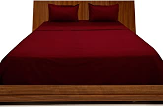 Relaxare Cal King 300TC 100% Egyptian Cotton Burgundy Solid 4PCs WaterBed Sheet Solid (Pocket Size: 13 inches)