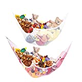 ETCBUYS Toy Storage Mesh Hammock Toy Storage Neatly Organize Net for Stuffed Animals and Children s Toys Great Décor Multiplace-Use - Pack of 2 (1-White 1-Pink)