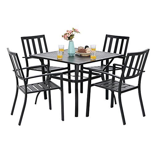 "PHI VILLA 5 Piece Metal Outdoor Indoor 37"" Square Dining Table and Arm Chairs - Umbrella Hole 1.57"""