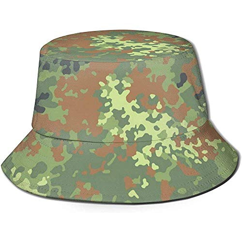 Angelhüte Sonnenhüte an Bundeswehr Flecktarn Camo Bucket Hat Summer Uv Sun Fisherman Cap Unisex for Travel Beach Outdoor