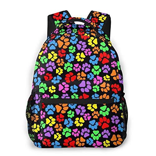 LNLN lässiger Rucksack grünFashion Leisure Backpack Rainbow Paw Print Scattered Unisex Print Travel Backpack, School Backpacks