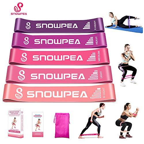 Fitnessbänder [5er Set Rosa] Widerstandsbänder Theraband Resistance Bands Gymnastikband aus Naturlatex mit Tragebeutel für Muskelaufbau Pilates Yoga usw.