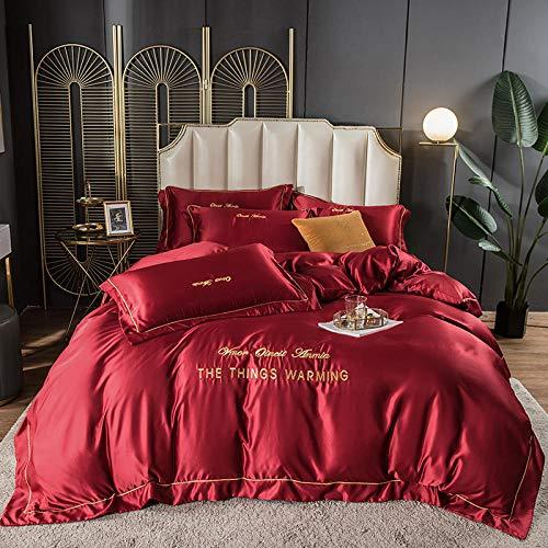 juego de edredón polar doble,Lavar las hojas de seda de Tweet se colocaron en una cama de cuatro piezas de cama de color sólido simple-Automóvil club británico_1,8 m de cama (4 piezas) (20 series de