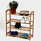 Sterling Wooden Shoe Racks for Home, Bamboo Shoes Stand Multipurpose Book Shelf Cloth Organizer Wooden Rack 4 Layer Shoe Rack