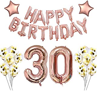 40 Inch 30 Rose Gold Foil Balloons for 30th Birthday Party Decorations Supplies, Rose Gold Hang Happy Birthday Alphabet Balloons Banner, Number 30 Balloons,Gold Confetti Balloons. (30 Rose Gold)