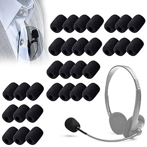 Gloryit 30 pieza Mini Cubiertas Esponjas Microfonos Cubiertas de Micrófono Espuma Antiviento Micrófono Adecuado para la enseñanza en el aula,salas de reuniones,entrevistas,Actuación Escénica (Negro)
